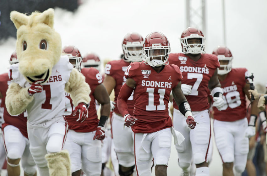 NORMAN, OK - SEPTEMBER 28: The Oklahoma Sooners take the field before the game against the Texas Tech Red Raiders at Gaylord Family Oklahoma Memorial Stadium on September 28, 2019 in Norman, Oklahoma. The Sooners defeated the Red Raiders 55-16. (Photo by Brett Deering/Getty Images)