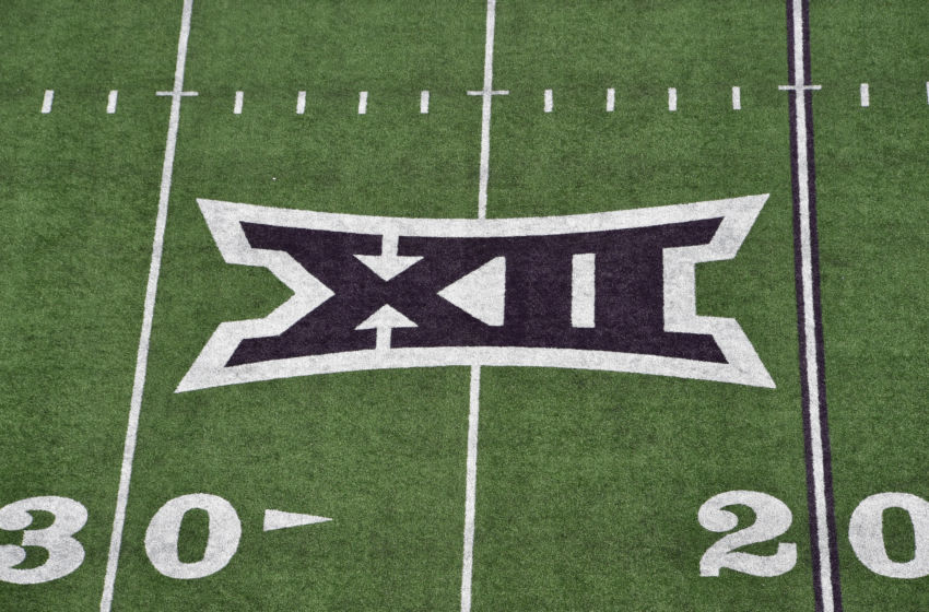 MANHATTAN, KS - NOVEMBER 16: A general view of the Big 12 logo on the field at Bill Snyder Family Football Stadium prior to a game between the Kansas State Wildcats and West Virginia Mountaineers on November 16, 2019 in Manhattan, Kansas. (Photo by Peter G. Aiken/Getty Images)