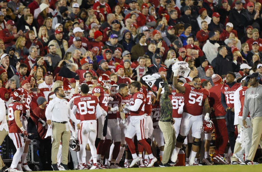 NORMAN, OK - NOVEMBER 23: The Oklahoma Sooners get amped up before a game against the TCU Horned Frogs on November 23, 2019 at Gaylord Family Oklahoma Memorial Stadium in Norman, Oklahoma. OU held on to win 28-24. (Photo by Brian Bahr/Getty Images)