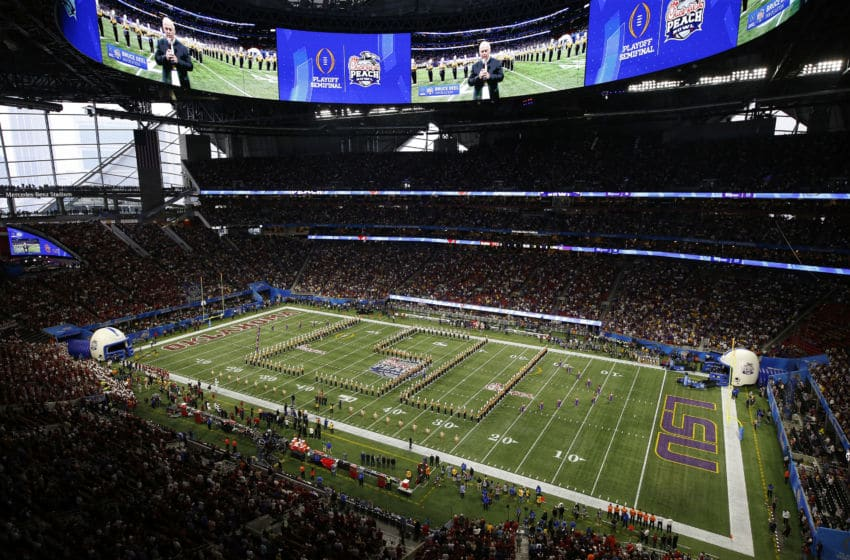ATLANTA, GEORGIA - DECEMBER 28: A general view of the LSU Tigers band performing the game against the Oklahoma Sooners in the Chick-fil-A Peach Bowl at Mercedes-Benz Stadium on December 28, 2019 in Atlanta, Georgia. (Photo by Mike Zarrilli/Getty Images)
