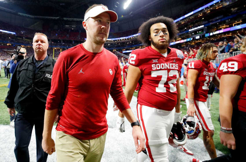 ATLANTA, GEORGIA - DECEMBER 28: Head coach Lincoln Riley of the Oklahoma Sooners walks off the field after the LSU Tigers win the the Chick-fil-A Peach Bowl 28-63 at Mercedes-Benz Stadium on December 28, 2019 in Atlanta, Georgia. (Photo by Todd Kirkland/Getty Images)