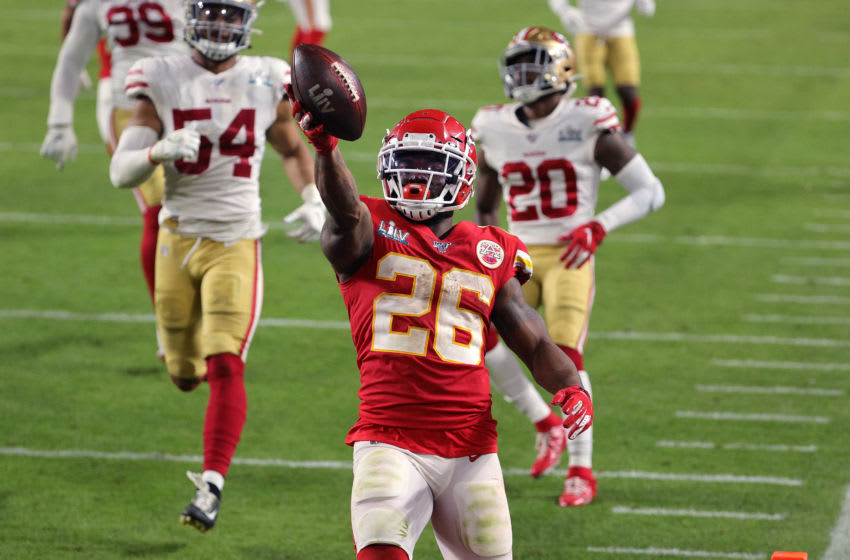 MIAMI, FLORIDA - FEBRUARY 02: Damien Williams #26 of the Kansas City Chiefs runs for a touchdown against the San Francisco 49ers during the fourth quarter in Super Bowl LIV at Hard Rock Stadium on February 02, 2020 in Miami, Florida. (Photo by Sam Greenwood/Getty Images)