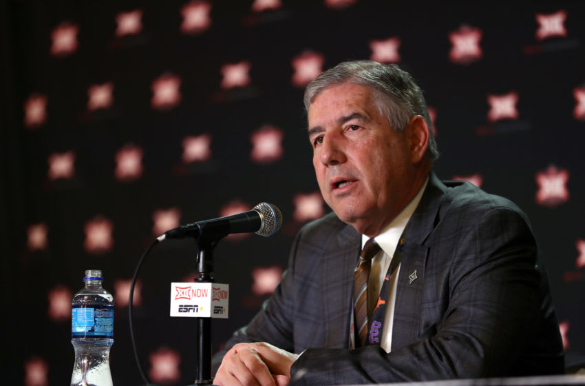 KANSAS CITY, MISSOURI - MARCH 12: Big Twelve Commissioner Bob Bowlsby speaks to the media to announce the cancellation of the tournnament prior to the Big 12 quarterfinal game at the Sprint Center on March 12, 2020 in Kansas City, Missouri. (Photo by Jamie Squire/Getty Images)