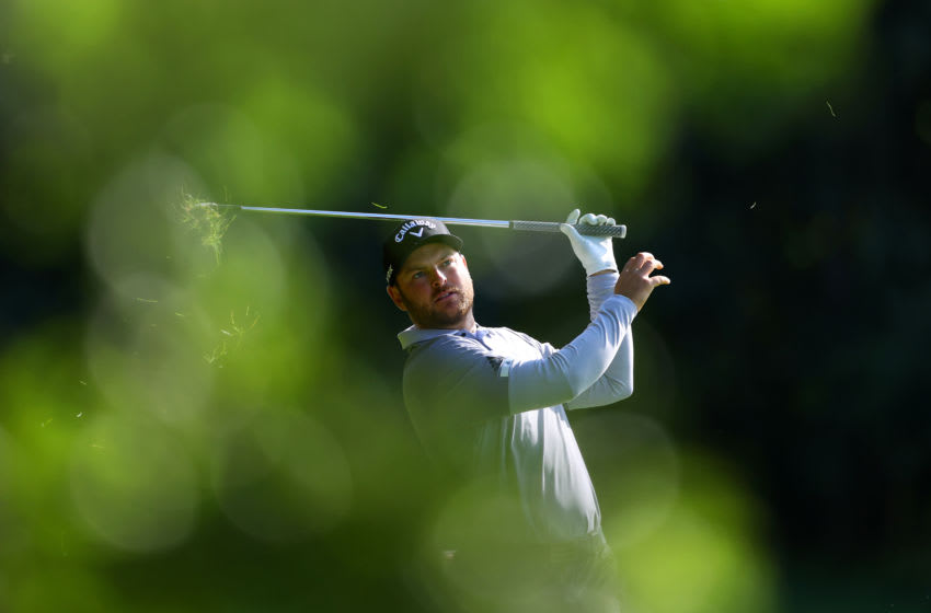 BALLYMENA, NORTHERN IRELAND - SEPTEMBER 26: Jordan Smith of England hits his second shot on the 6th hole during Day Three of the Dubai Duty Free Irish Open at Galgorm Spa & Golf Resort on September 26, 2020 in Ballymena, United Kingdom. (Photo by Richard Heathcote/Getty Images)