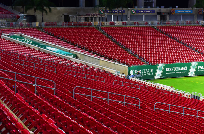 TAMPA, FLORIDA - SEPTEMBER 12: A general view of empty stands at Raymond James Stadium during a game between the South Florida Bulls and the Citadel Bulldogs on September 12, 2020 in Tampa, Florida. (Photo by Julio Aguilar/Getty Images)