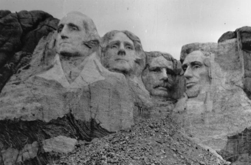 circa 1960: Mount Rushmore in Dakota where four presidents' faces have been sculptured out of the rocks, known as the Shrine Of Democracy. (Photo by Keystone/Getty Images)