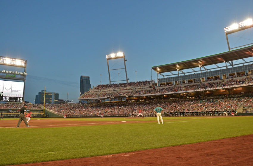 Omaha, NE - JUNE 28: A general view of TD Ameritrade Park during game two of the College World Series Championship Series between the Arizona Wildcats and the Coastal Carolina Chanticleers on June 28, 2016 at in Omaha, Nebraska. The Chanticleers won 5-4. (Photo by Peter Aiken/Getty Images)