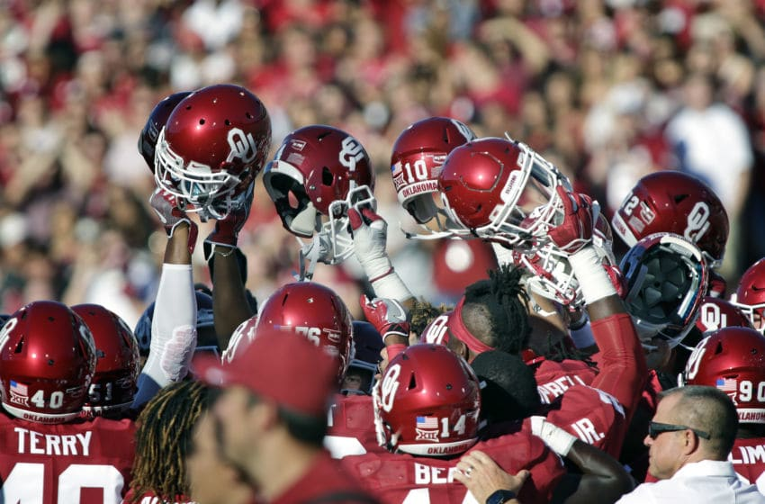 NORMAN, OK - SEPTEMBER 10 : The Oklahoma Sooners meet on the field before the game against the Louisiana Monroe Warhawks September 10, 2016 at Gaylord Family Memorial Stadium in Norman, Oklahoma. The Sooners defeated the Warhawks 59-17. (Photo by Brett Deering/Getty Images) *** local caption ***