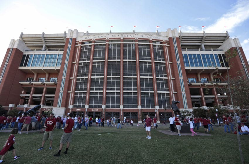 NORMAN, OK - OCTOBER 29: Oklahoma Sooners fans wait to enter the east side of the stadium before the game against the Kansas Jayhawks October 29, 2016 at Gaylord Family-Oklahoma Memorial Stadium in Norman, Oklahoma. (Photo by Brett Deering/Getty Images)