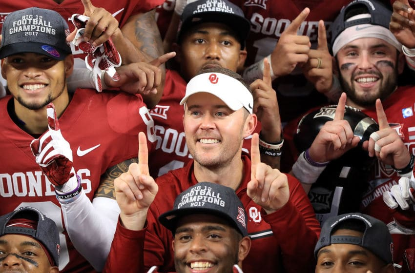 ARLINGTON, TX - DECEMBER 02: Head coach Lincoln Riley of the Oklahoma Sooners celebrates the Big 12 Championship after defeating the TCU Horned Frogs 41-17 at AT&T Stadium on December 2, 2017 in Arlington, Texas. (Photo by Ronald Martinez/Getty Images)