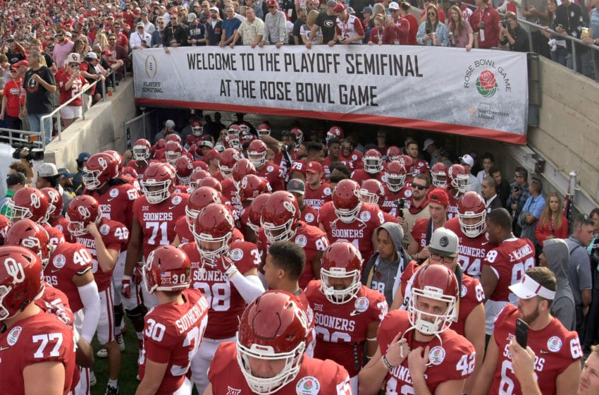 PASADENA, CA - JANUARY 01: The Oklahoma Sooners are wait to run onto the field prior to the 2018 College Football Playoff Semifinal Game against the Georgia Bulldogs at the Rose Bowl Game presented by Northwestern Mutual at the Rose Bowl on January 1, 2018 in Pasadena, California. (Photo by Harry How/Getty Images)