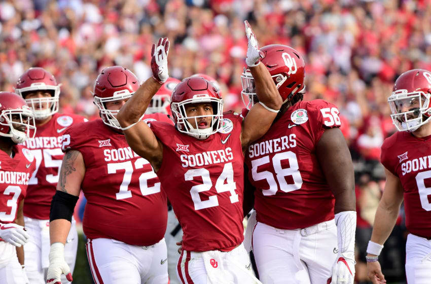 PASADENA, CA - JANUARY 01: Running back Rodney Anderson #24 of the Oklahoma Sooners celebrates after scoring on a nine-yard touchdown run in the first quarter against the Georgia Bulldogs in the 2018 College Football Playoff Semifinal at the Rose Bowl Game presented by Northwestern Mutual at the Rose Bowl on January 1, 2018 in Pasadena, California. (Photo by Harry How/Getty Images)