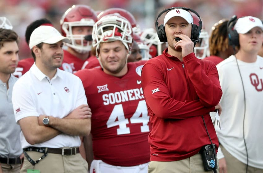 PASADENA, CA - JANUARY 01: Head Coach Lincoln Riley of the Oklahoma Sooners watches from the sidelines during the 2018 College Football Playoff Semifinal Game against the Georgia Bulldogs at the Rose Bowl Game presented by Northwestern Mutual at the Rose Bowl on January 1, 2018 in Pasadena, California. (Photo by Matthew Stockman/Getty Images)