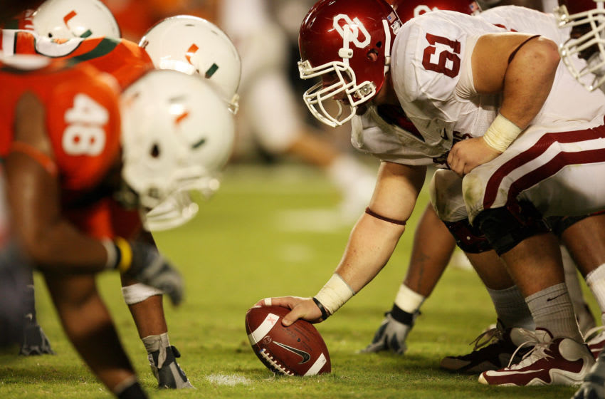 FORT LAUDERDALE, FL - OCTOBER 03: Center Ben Habern #61 of the Oklahoma Sooners prepares to snap the ball while taking on the Miami Hurricanes at Land Shark Stadium on October 3, 2009 in Fort Lauderdale, Florida. Miami defeated Oklahoma 21-20. (Photo by Doug Benc/Getty Images)