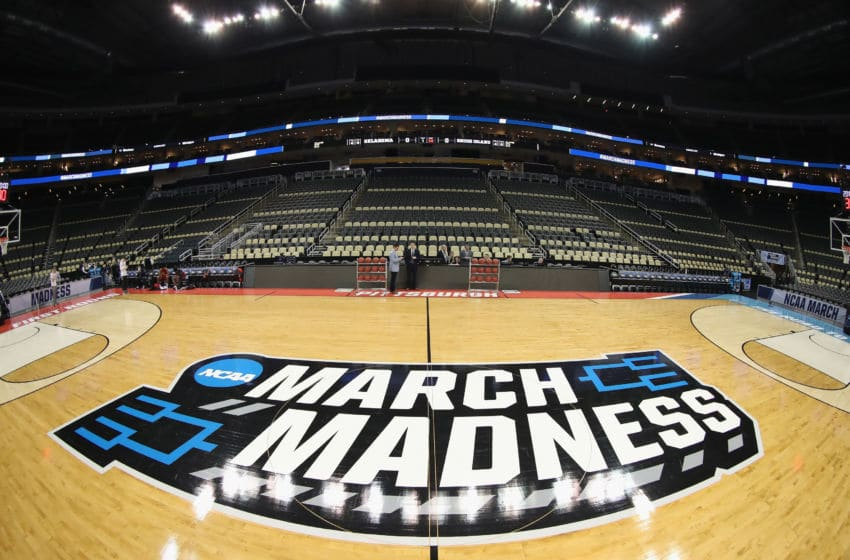PITTSBURGH, PA - MARCH 15: A general view of the court with March Madness signage is seen prior to the start of the game between the Oklahoma Sooners and the Rhode Island Rams in the first round of the 2018 NCAA Men's Basketball Tournament at PPG PAINTS Arena on March 15, 2018 in Pittsburgh, Pennsylvania. (Photo by Rob Carr/Getty Images)