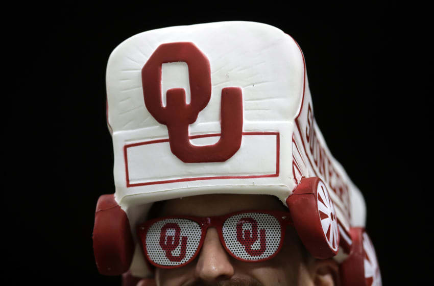 NEW ORLEANS, LA - JANUARY 02: A fan of Oklahoma Sooners cheers prior to the Allstate Sugar Bowl at the Mercedes-Benz Superdome on January 2, 2017 in New Orleans, Louisiana. (Photo by Sean Gardner/Getty Images)