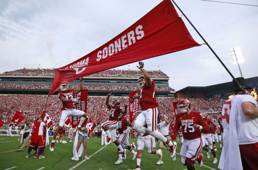NORMAN, OK - SEPTEMBER 16: The Oklahoma Sooners take the field before the game against the Tulane Green Wave at Gaylord Family Oklahoma Memorial Stadium on September 16, 2017 in Norman, Oklahoma. Oklahoma defeated Tulane 56-14. (Photo by Brett Deering/Getty Images)