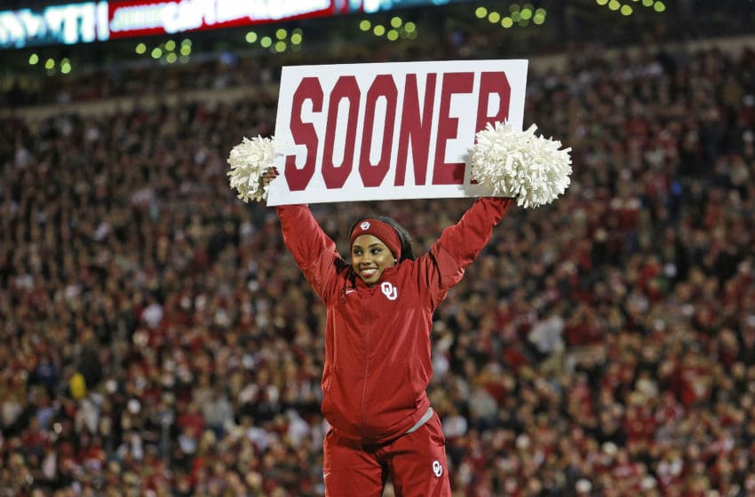 NORMAN, OK - OCTOBER 28: Members of the Oklahoma Sooners spirit squad perform before the game against the Texas Tech Red Raiders at Gaylord Family Oklahoma Memorial Stadium on October 28, 2017 in Norman, Oklahoma. Oklahoma defeated Texas Tech 49-27. (Photo by Brett Deering/Getty Images) *** Local Caption ***