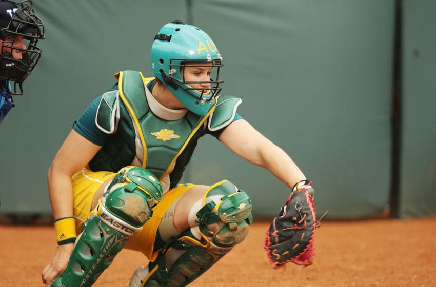 BEIJING - AUGUST 14: Catcher Natalie Titcume