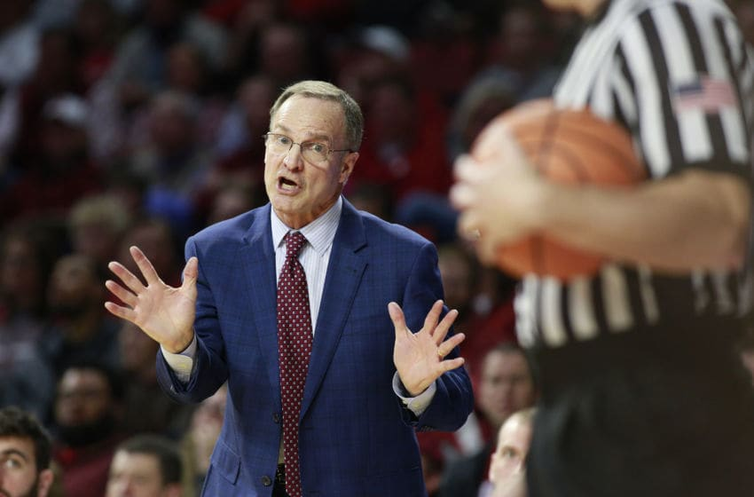 NORMAN, OK - FEBRUARY 05: Head Coach Lon Kruger of the Oklahoma Sooners appeals to an official during the game against the West Virginia Mountaineers at Lloyd Noble Center on February 5, 2018 in Norman, Oklahoma. West Virginia defeated Oklahoma 75-73. (Photo by Brett Deering/Getty Images)