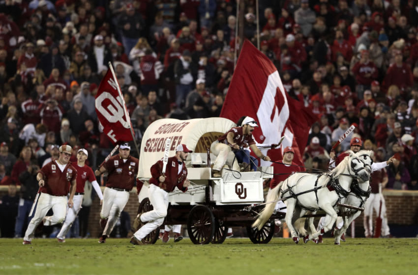 Oct 28, 2017; Norman, OK, USA; Oklahoma Sooners mascot Sooner Schooner on the field after a touchdown during the first half against the Texas Tech Red Raiders at Gaylord Family - Oklahoma Memorial Stadium. Mandatory Credit: Kevin Jairaj-USA TODAY Sports