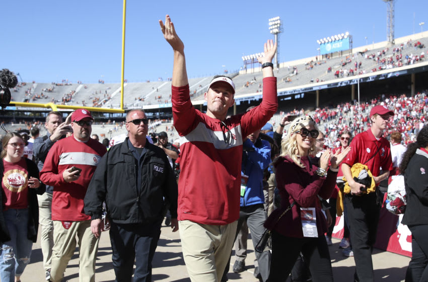 Oct 12, 2019; Dallas, TX, USA;Oklahoma Sooners head coach Lincoln Riley wavs to the crowd after the game against the Texas Longhorns at the Cotton Bowl. Mandatory Credit: Kevin Jairaj-USA TODAY Sports