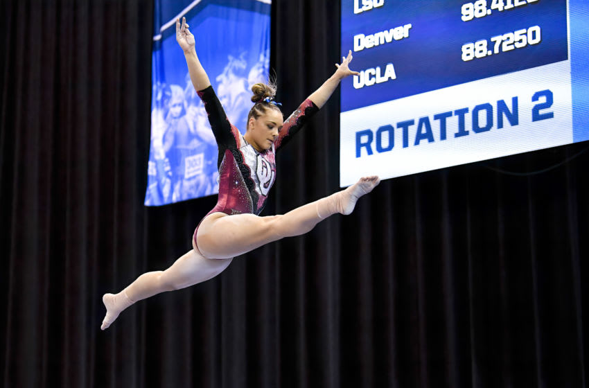 Apr 20, 2019; Fort Worth, TX, USA; University of Oklahoma gymnast Maggie Nichols competes during the NCAA Nationals at Fort Worth Convention Center. Mandatory Credit: Jerome Miron-USA TODAY Sports