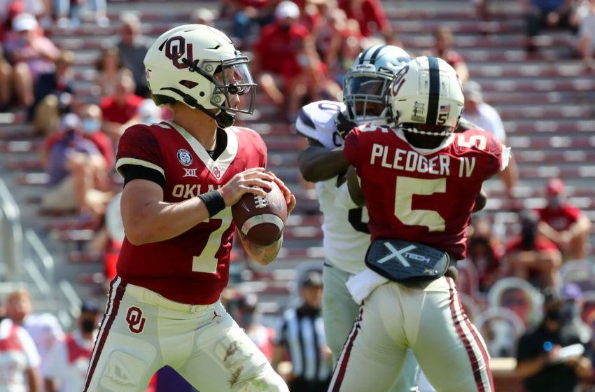 Sep 26, 2020; Norman, Oklahoma, USA; Oklahoma Sooners quarterback Spencer Rattler (7) throws during the first half against the Kansas State Wildcats at Gaylord Family Oklahoma Memorial Stadium. Mandatory Credit: Kevin Jairaj-USA TODAY Sports