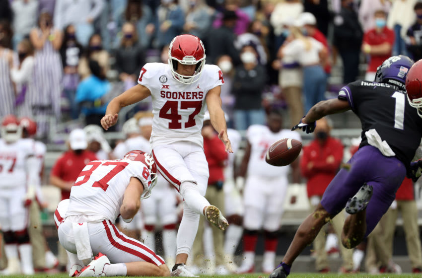 Oct 24, 2020; Fort Worth, Texas, USA; Oklahoma Sooners place kicker Gabe Brkic (47) makes a field goal during the second half against the TCU Horned Frogs at Amon G. Carter Stadium. Mandatory Credit: Kevin Jairaj-USA TODAY Sports