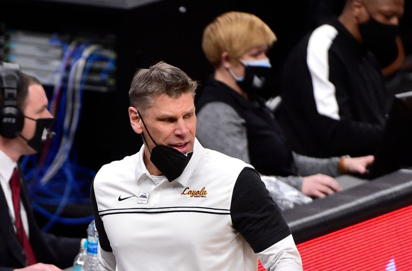 Mar 6, 2021; St. Louis, Missouri, USA; Loyola Ramblers head coach Porter Moser looks on during the first half against the Indiana State Sycamores in the semifinals of the Missouri Valley Conference Tournament at Enterprise Center. Mandatory Credit: Jeff Curry-USA TODAY Sports