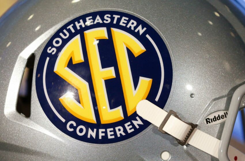 SEC logo seen during SEC Media Days at the Hyatt Regency in Hoover, Ala., Monday, July 19, 2021. [Staff Photo/Gary Cosby Jr.] Sec Media Days