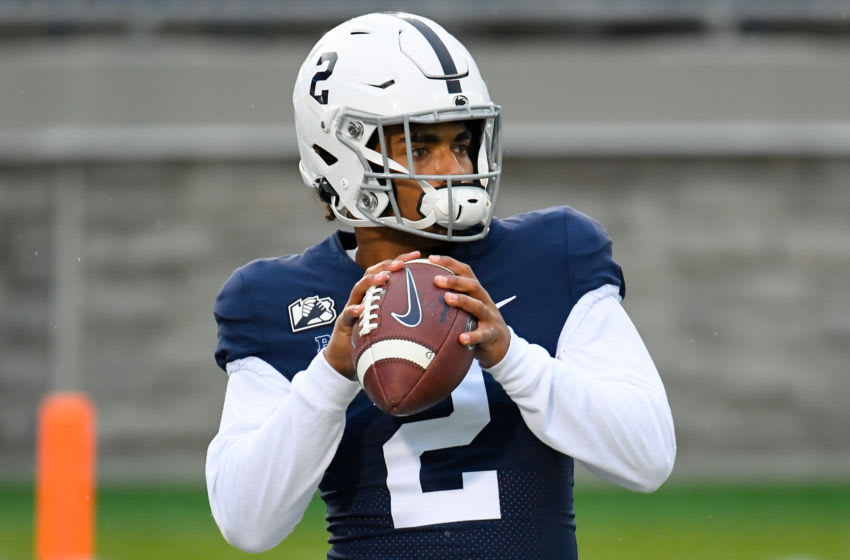 Nov 21, 2020; University Park, Pennsylvania, USA; Penn State Nittany Lions quarterback Micah Bowens (2) warms up prior to the game against the Iowa Hawkeyes at Beaver Stadium. Mandatory Credit: Rich Barnes-USA TODAY Sports