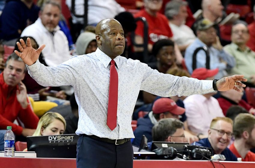 NEW YORK, NEW YORK - DECEMBER 10: Head coach Mike Anderson of the St. John's basketball team reacts against the Brown Bears at Carnesecca Arena on December 10, 2019 in New York City. (Photo by Steven Ryan/Getty Images)