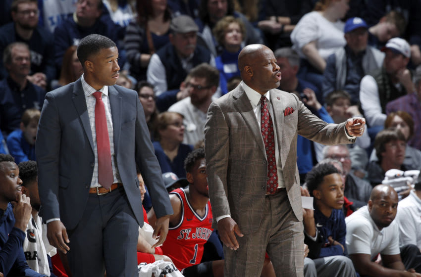 St. John's basketball head coach Mike Anderson and assistant TJ Cleveland. (Photo by Joe Robbins/Getty Images)