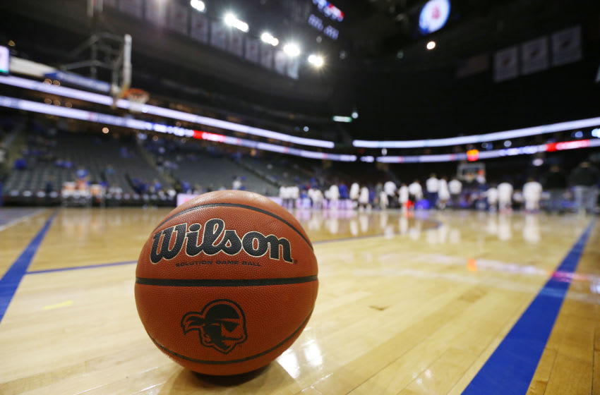 The scene at the Prudential Center prior to the Seton Hall Pirates and the St. John's basketball team. (Photo by Rich Schultz/Getty Images)
