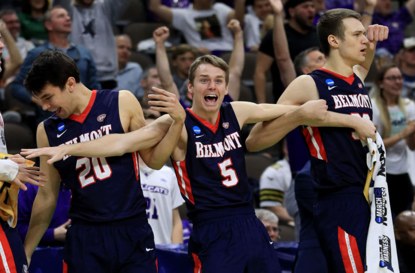 JACKSONVILLE, FLORIDA - MARCH 21: Adam Kunkel #5 of the Belmont Bruins reacts on the bench in the second half of play against the Maryland Terrapins during the first round of the 2019 NCAA Men's Basketball Tournament at VyStar Jacksonville Veterans Memorial Arena on March 21, 2019 in Jacksonville, Florida. (Photo by Mike Ehrmann/Getty Images)