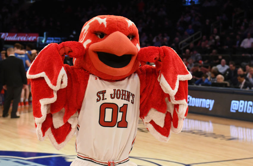 The St. John's basketball mascot dances at Madison Square Garden. (Photo by Mitchell Layton/Getty Images)