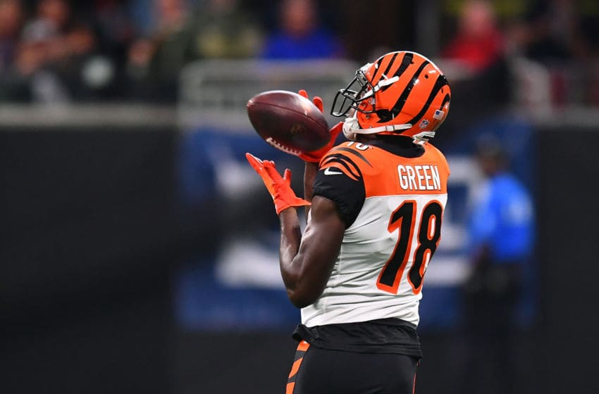 ATLANTA, GA - SEPTEMBER 30: A.J. Green #18 of the Cincinnati Bengals makes a catch during the first quarter against the Atlanta Falcons at Mercedes-Benz Stadium on September 30, 2018 in Atlanta, Georgia. (Photo by Scott Cunningham/Getty Images)