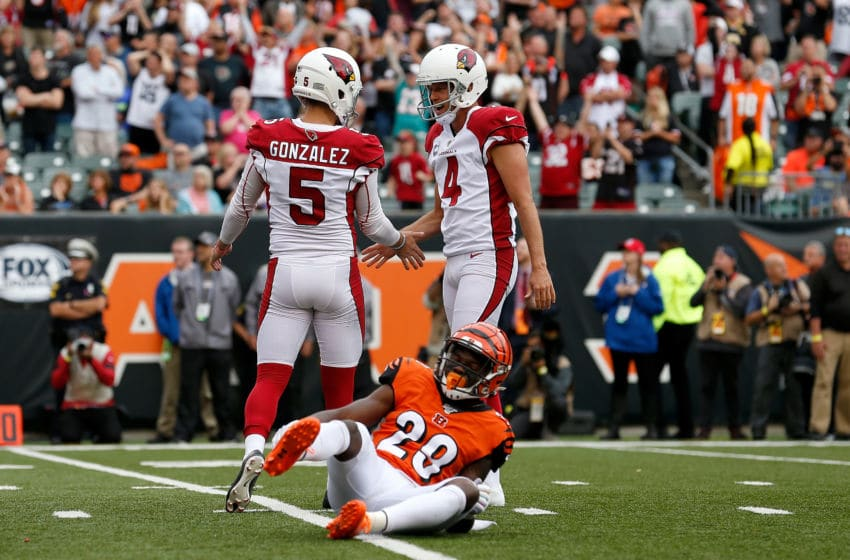 CINCINNATI, OH - OCTOBER 6: Zane Gonzalez #5 of the Arizona Cardinals is congratulated by Andy Lee #4 after kicking the game-winning field goal during the fourth quarter against the Cincinnati Bengals at Paul Brown Stadium on October 6, 2019 in Cincinnati, Ohio. Arizona defeated Cincinnati 26-23. (Photo by Kirk Irwin/Getty Images)