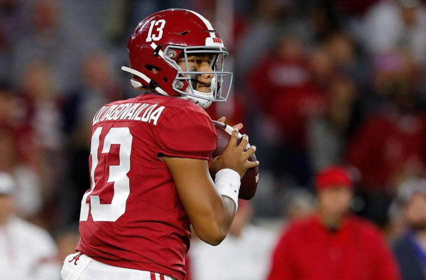 TUSCALOOSA, ALABAMA - OCTOBER 19: Tua Tagovailoa #13 of the Alabama Crimson Tide looks to pass against the Tennessee Volunteers in the first half at Bryant-Denny Stadium on October 19, 2019 in Tuscaloosa, Alabama. (Photo by Kevin C. Cox/Getty Images)