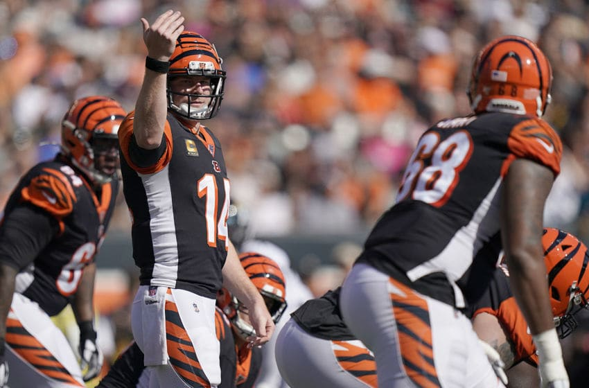 CINCINNATI, OHIO - OCTOBER 20: Andy Dalton (14) of the Cincinnati Bengals signals to the offensive line during the NFL football game against the Jacksonville Jaguars at Paul Brown Stadium on October 20, 2019 in Cincinnati, Ohio. (Photo by Bryan Woolston/Getty Images)