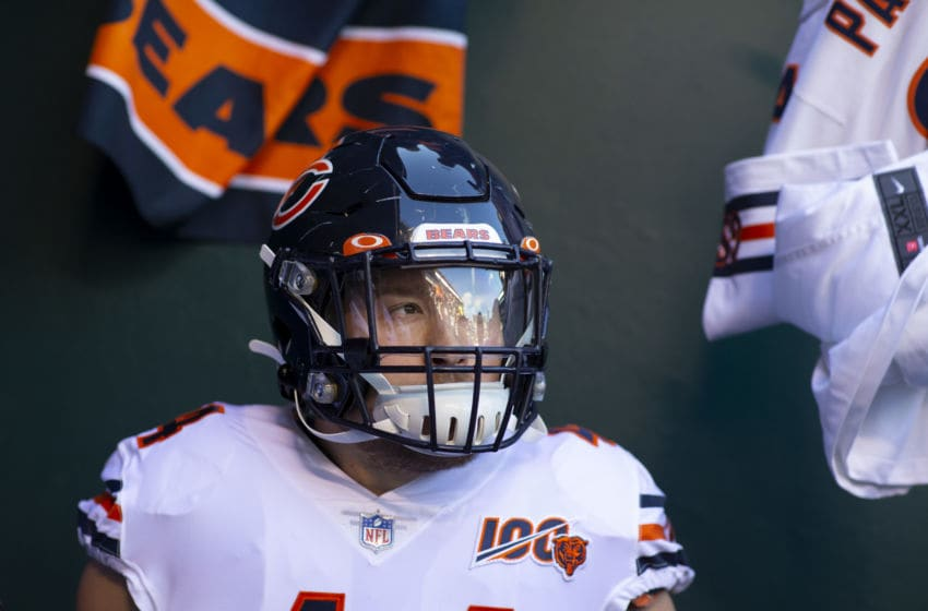 PHILADELPHIA, PA - NOVEMBER 03: Nick Kwiatkoski #44 of the Chicago Bears looks on prior to the game against the Philadelphia Eagles at Lincoln Financial Field on November 3, 2019 in Philadelphia, Pennsylvania. (Photo by Mitchell Leff/Getty Images)