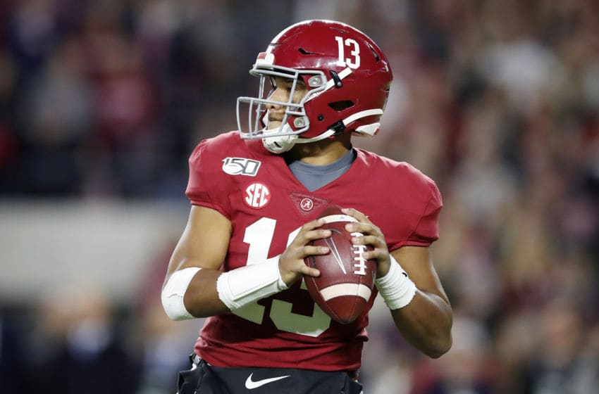 TUSCALOOSA, ALABAMA - NOVEMBER 09: Tua Tagovailoa #13 of the Alabama Crimson Tide looks to pass during the second half against the LSU Tigers in the game at Bryant-Denny Stadium on November 09, 2019 in Tuscaloosa, Alabama. (Photo by Todd Kirkland/Getty Images)