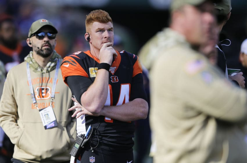 CINCINNATI, OHIO - NOVEMBER 10: Andy Dalton #14 of the Cincinnati Bengals watches from the sidelines during the game against the Baltimore Ravens at Paul Brown Stadium on November 10, 2019 in Cincinnati, Ohio. (Photo by Silas Walker/Getty Images)