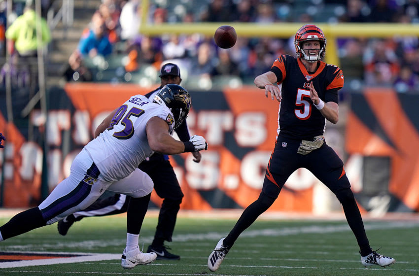 CINCINNATI, OHIO - NOVEMBER 10: Ryan Finley #5 of the Cincinnati Bengals throws the ball during the NFL football game against the Baltimore Ravens at Paul Brown Stadium on November 10, 2019 in Cincinnati, Ohio. (Photo by Bryan Woolston/Getty Images)
