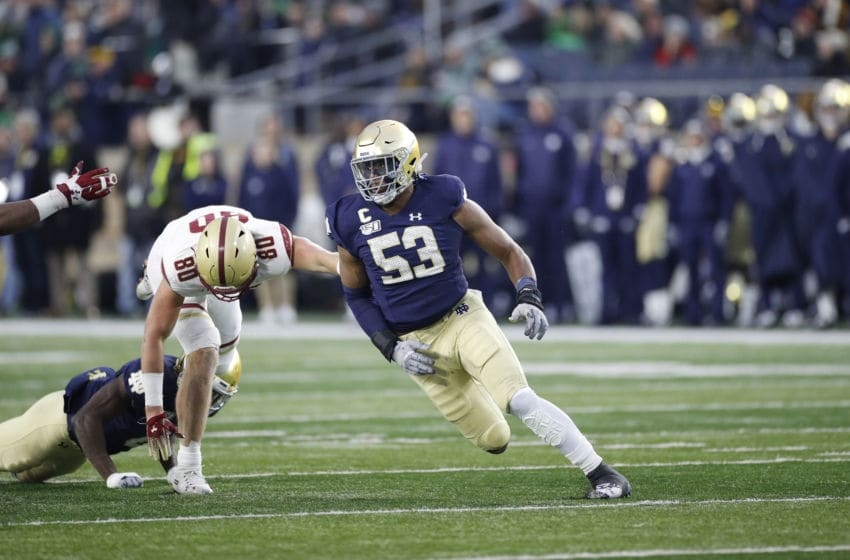 SOUTH BEND, IN - NOVEMBER 23: Khalid Kareem #53 of the Notre Dame Fighting Irish in action on defense during a game against the Boston College Eagles at Notre Dame Stadium on November 23, 2019 in South Bend, Indiana. Notre Dame defeated Boston College 40-7. (Photo by Joe Robbins/Getty Images)