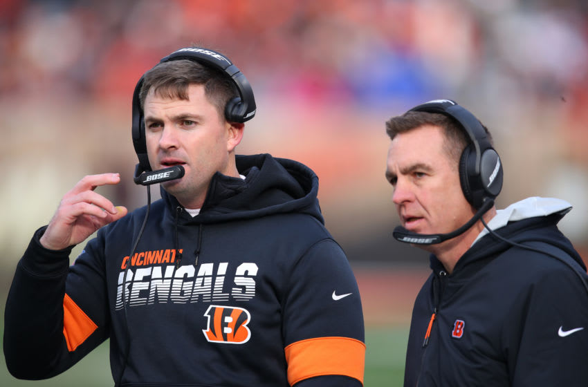 CLEVELAND, OHIO - DECEMBER 08: Head coach Zac Taylor of the Cincinnati Bengals looks on in the first half while playing the Cleveland Browns at FirstEnergy Stadium on December 08, 2019 in Cleveland, Ohio. (Photo by Gregory Shamus/Getty Images)