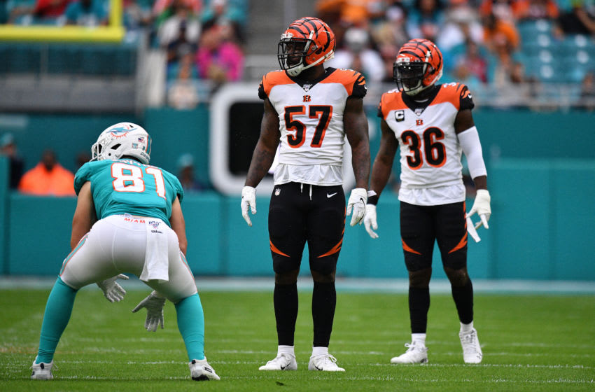 MIAMI, FLORIDA - DECEMBER 22: Germaine Pratt #57 and Shawn Williams #36 of the Cincinnati Bengals line up against the Miami Dolphins in the first quarter at Hard Rock Stadium on December 22, 2019 in Miami, Florida. (Photo by Mark Brown/Getty Images)