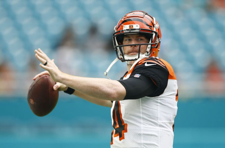 MIAMI, FLORIDA - DECEMBER 22: Andy Dalton #14 of the Cincinnati Bengals warms up prior to the game against the Miami Dolphins at Hard Rock Stadium on December 22, 2019 in Miami, Florida. (Photo by Michael Reaves/Getty Images)