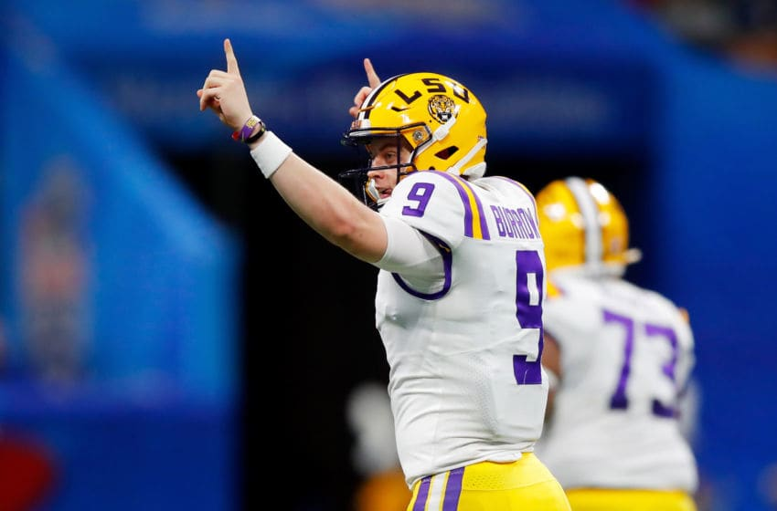 ATLANTA, GEORGIA - DECEMBER 28: Quarterback Joe Burrow #9 of the LSU Tigers celebrates during the game against the Oklahoma Sooners during the Chick-fil-A Peach Bowl at Mercedes-Benz Stadium on December 28, 2019 in Atlanta, Georgia. (Photo by Todd Kirkland/Getty Images)